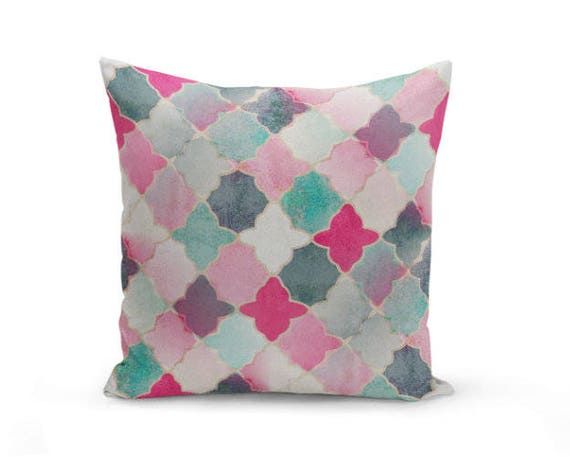 Navy And Pink Decorative Pillows: Throw Pillow Cover Quatrefoil Pillow Cover Pink Navy Mint