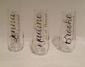 3 STEMLESS FLUTES Stemless Champagne Flutes, Gold script, Personalized, Wedding, Wedding Flutes, Bridal Party,