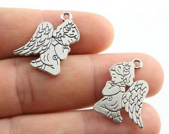 6 pcs Charms in Angel / Guardian Angel, Antique Silver Color 23x17mm