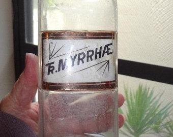 19th Century  TINCTURE MYRRHAE  Apothecary Bottle  Gold Label Under Glass