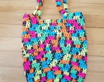 Black Light Crochet Tote Bag