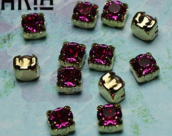FUCHSIA: Swarovski SS29 6.5mm 17704 Xilion Gold Plated Two Hole Sew-On Slider Bead Component (12)