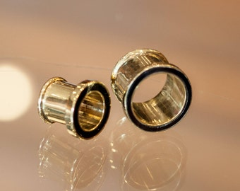 Brass Plug with Black Resin,Plugs, Brass flesh tunnel, Brass ear plug, Ear Gauges, Tribal jewelry, Eyelets, Tribal jewelry,  Brass gauges