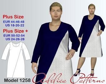 Plus size Asymmetric A-line Dress Sewing Pattern PDF, Instant Download Sewing Pattern, Dress Sewing Pattern, Sizes 18-28