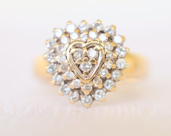 40% SALE! vintage 1980's /0.5 Carats Diamond and 9k yellow gold engagement wedding ring . heart shape ring . Love Valentine