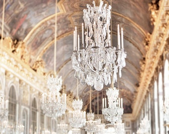 Versailles Photography, Paris Home Decor, Hall of Mirrors, Chandeliers, French Wall Decor, Large Wall Art
