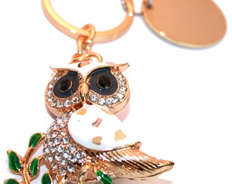 Engraved / personalised white owl keyring / handbag charm with crystals BR407