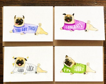 Bulk greeting cards etsy 12 pug dog greeting cards set for all occasions pug cards bulk pack assorted m4hsunfo Gallery