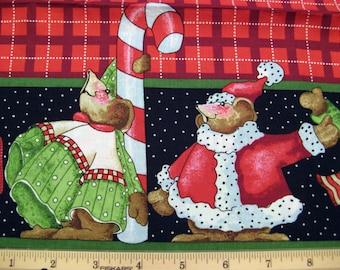 """Fat Quarter «Célébrer vos chaussettes» #4904 Double bordure Noël souris canne 60"""" W tissu - Beth Yoko Daisy Kingdom - Poo"""