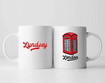 Red phone box mug. Iconic. Personalised. London. Gift.