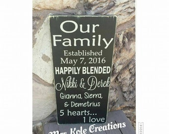 personalized happily blended handmade wood decor sign, for blended families