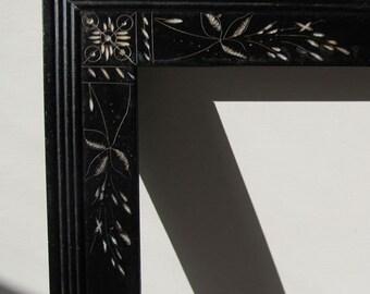 black antique picture frames. Eastlake, +Free, Eastlake Frame Included! C.1875, Lovely Antique Black Picture Frames