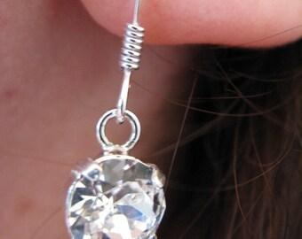 Boucles d'oreilles argent 925 Cristal swarovski 8 mm