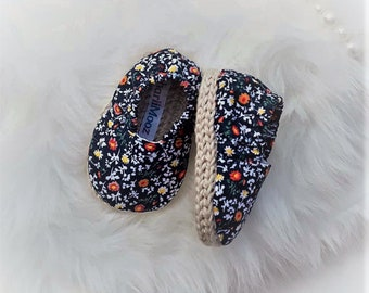 Baby Shoe Baby Espadrilles Crochet Soft Sole Navy Floral Size 0-3 mths  Baby Shower Baby Gift