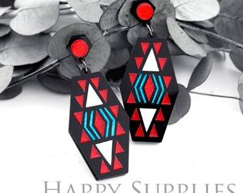 Last- 50% off-4pcs (2 Pairs) Laser Cut Acrylic Bohemia Geometry Earring Jewelry (AGE06) Geometry Series