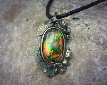 Bronze PMC and Vivid Ammolite Necklace.