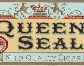 Queen Seal Vintage Cigar Box End Label, C1915
