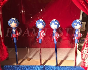 Captain America pencil topper, Captain America favor
