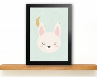 A4 Sleepy Bunny Poster Kids room picture
