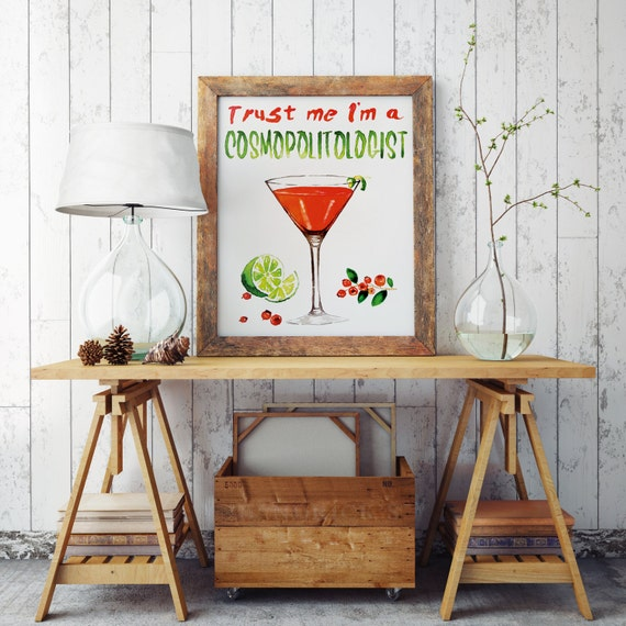 Trust me i'm a COSMOPOLITOLOGIST! | Paper Poster | Kitchen and bar wall art decor | Watercolor artwork | Cosmopolitan cocktail | ZuskaArt