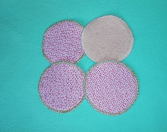 4 washable nursing pads or wipes round - fabric mini pink flowers + pink terrycloth - eco friendly and economical.
