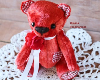 Vintage bear Soft toy Plush bear Soft toy for children Red bear Home decor Vintage plush Textile toy Children's toy Decorative toy Plush toy