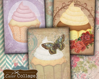 Cupcake Digital Collage Sheet 2.5x3.5 ATC Size Digital Images for Scrapbooking, Junk Journals, Planner, Paper Crafts, Earring Cards