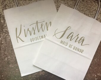 Personalized Gift Bag, Hand-lettered, Customized, Bridesmaid Gift, Groomsmen, Bridal Party