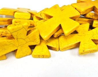 "Yellow Cross Beads, Large Crosses, 50x40mm Magnesite Crosses, Yellow Howlite Crosses, 16"" Strand, 8 PCS, Cross Jewelry, Wholesale Beads"