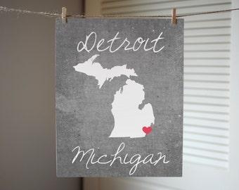 Detroit Michigan Concrete Print - Detroit Print - Michigan Gift - Concrete style Michigan Print - State Print