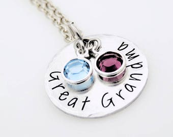 Personalized Hand Stamped Necklace can be personalized to read Mother, Mommy, Mom, Grandma, Grandmother, Great Grandmother  gift for her