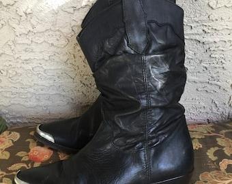 Vintage Black Leather Cowboy Boots | Western | Cuban Heel | Festival | Boho