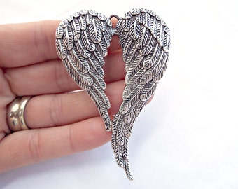 Colgantes etsy es angel wings pendant large silver aloadofball Image collections
