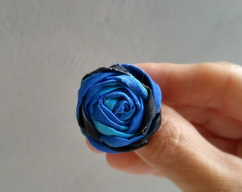 Rosette Ring, Textile Ring, Fabric Ring, Statement Ring, Free Shipping, Blue Ring, Adjustable Ring, Fabric Jewelry, Bohemian Ring Boho