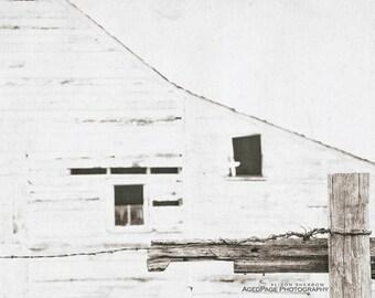 White Barn Art, Rustic Modern Farmhouse Living Room Decor, Country Home Decor, Neutral Tone Wall Art, Sepia Prints | 'Broken Fence 2'