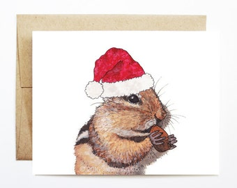 Christmas Card - Chipmunk, Cute Christmas Card, Animal Christmas Card, Holiday Card, Xmas Card, Seasonal Card, Christmas Card Set
