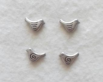 Silver bird bead 14 x 9 mm