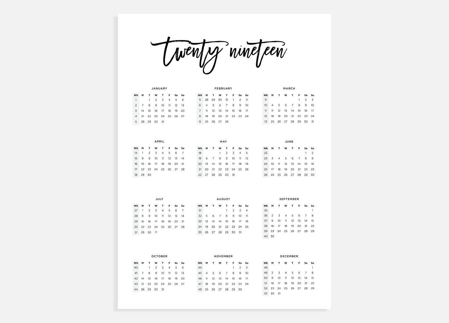 2019 Calendar A3 Calendar with week numbers 2019 Year