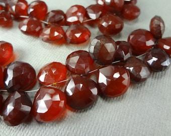 Dark red quartz faceted briolettes, top drilled beads, 14pcs, 10mm  - 740