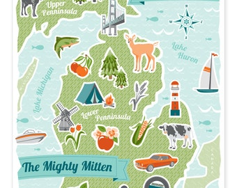 The Mighty Mitten - Michigan Print