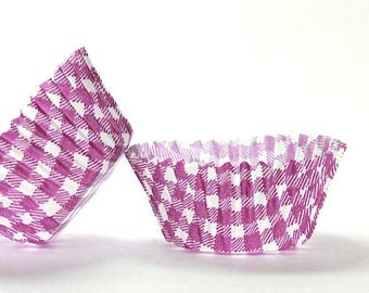 50pc Standard Size Purple Gingham/Plaid Baking Cup With Greaseproof Liner