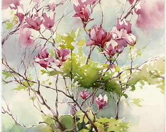 Pink magnolia watercolor - magnolia art print - original purple flower painting