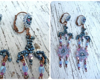 Blue metal doves  birds dangle earrings /seed beads / beaded/beadwork