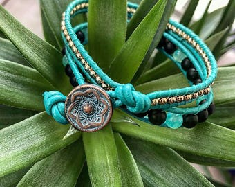 Turquoise and Rose Gold wrap