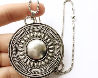 Tribal Sun Pendant Necklace in Antiqued Gold or Antiqued Silver. FAST Shipping w/Tracking for US Buyers. Gift Box/Ribbon Included.