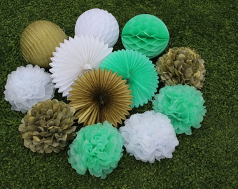 12pcs Mint Green White Gold Hanging Paper Fans Tissue Paper Pom Poms Flower Paper Lanterns and Honeycomb Balls for Birthday Party Decor