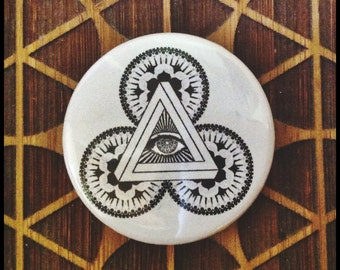 Geometric Magnet and/or Pinback Button Eye Mandala Triangles Butterfly Optical Art Sacred Geometry