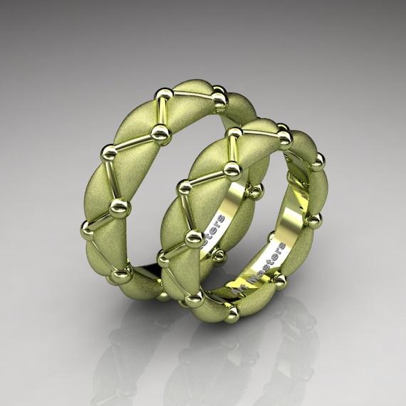 Italian 18K Green Gold Designer Formal Infinity Wedding Band