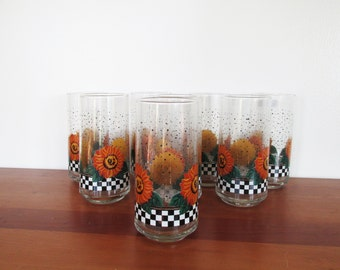 Crisa Sunflower Checkerboard Set of 8 Drinking Glasses