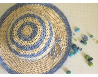 Women's Sun Hat.Crochet Floppy hat.Knit Summer hat.Wide brim sun hat.Striped hat.Knit sun hat.Beach hat.Suns hat.Cotton sun hat.Cowboy hat